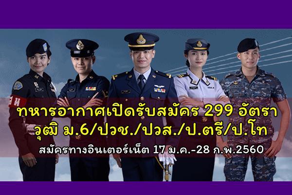 ด่วน!! ทหารอากาศเปิดรับสมัคร 299 อัตรา วุฒิ ม.6/ปวช./ปวส./ป.ตรี/ป.โท